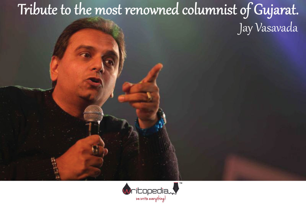 Writer & Columnist Jay Vasavada delivering a speech